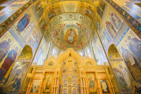 Altar of church of the Savior on Spilled Blood, St Petersburg, Russia