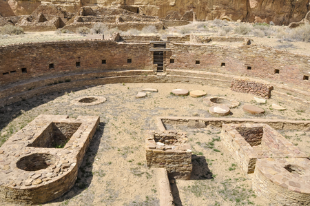 chaco: The Great Kiva of Chetro Ketl, Chaco Canyon, New Mexico, USA Stock Photo