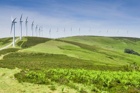 eolian: Elguea range with wind turbines farm, Basque Country, Spain