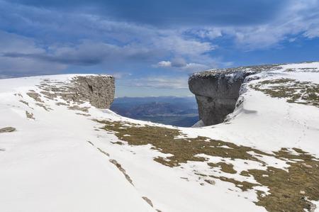 navarre: Beriain mountain in winter,Navarre, Spain Stock Photo