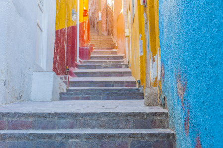 steps and staircases: Colorful alley in Guanajuato, Mexico Stock Photo