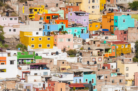 houses street: Colorful town of Guanajuato, Mexico Stock Photo