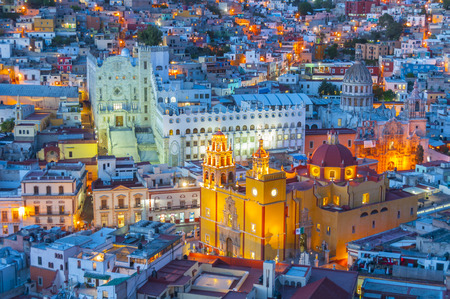 Guanajuato at night, Mexico Stock Photo