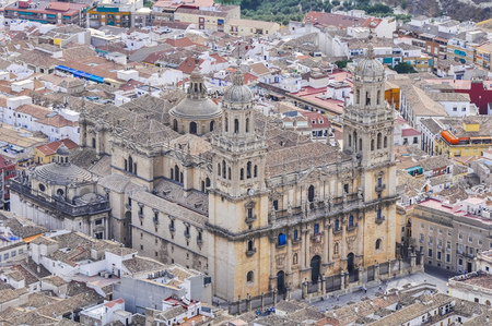 Cathedral of Jaen seen from Santa Catalina castle, Spain