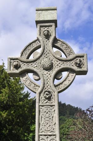 monastic sites: Celtic Cross at Glendalough monastic settlement, Ireland