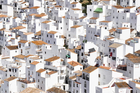 White town of Casares, Malaga, Spain 스톡 콘텐츠