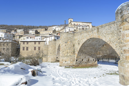 snowscape: Town of Villoslada de Cameros in a snowy day, La Rioja, Spain