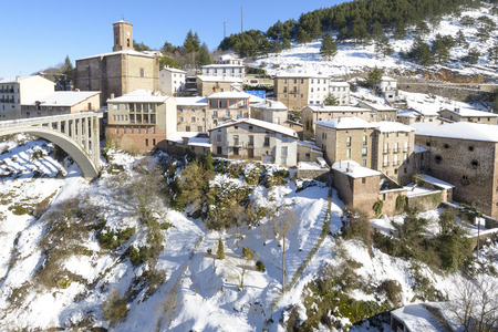 snowscape: Town of Ortigosa de Cameros in a snowy day, La Rioja, Spain