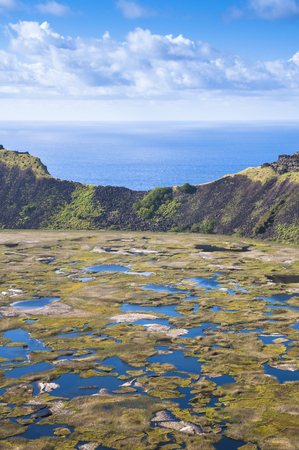easter island: Rano Kau volcano, Easter island, Chile Stock Photo