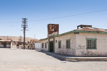 urban decline: Saltpeter works of Humberstone, deserted town in Chile Stock Photo