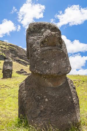 rano raraku: Moais of Rano Raraku volcano, Easter island, Chile