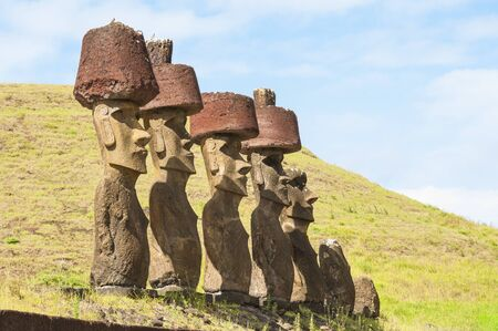easter island: Moais in Anakena beach, Easter island, Chile Stock Photo