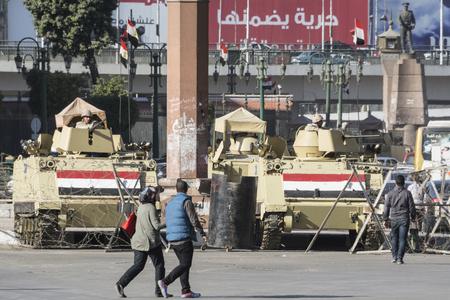 egypt revolution: Armoured vehicles in Tahrir Square, Cairo, Egypt