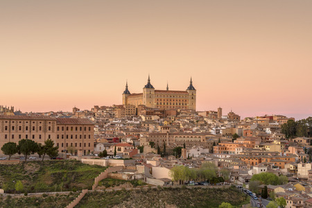 Panoramic view of Toledo and Alcazar, Spain