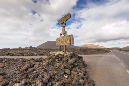 timanfaya: Entrance of Timanfaya National Park in Lanzarote, Spain Stock Photo