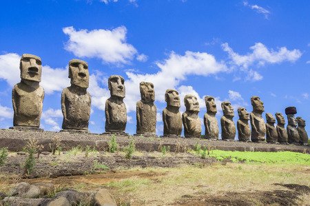 Moais of Ahu Tongariki, Easter island, Chile