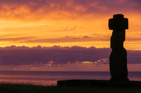 easter island: Sunset at Ahu Tahai, Easter island, Chile