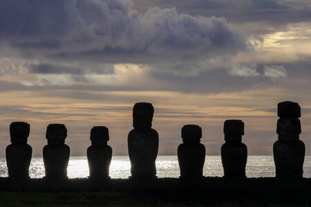 easter island: Sunrise at Ahu Tongariki Easter island, Chile