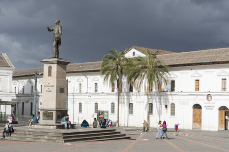 Historic Plaza de Santo Domingo with Dominican art museum in old town on August 25, 2014 in Quito, Ecuador.