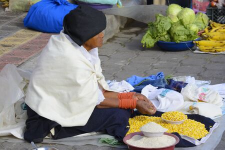 ecuadorian: Unidentified Ecuadorian woman works at the rural Saturday market on August 30, 2014 in Otavalo, Ecuador
