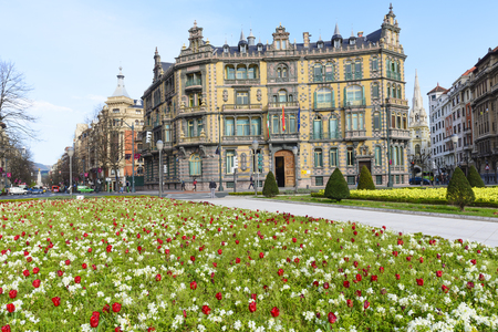 vizcaya: Moyua square and the building of subdelegation of the government in vizcaya on April 9, 2015 in Bilbao, Basque Country, Spain.