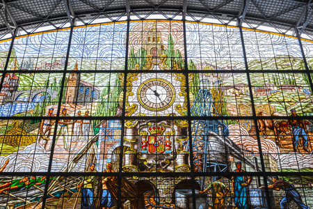Stained glass window in Abando train station, Bilbao, Spain Editorial