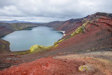 crater highlands: Ljotipollur crater lake, Landmannalaugar, Iceland Stock Photo