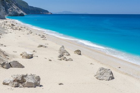 Egremni beach in Lefkada island Greece photo