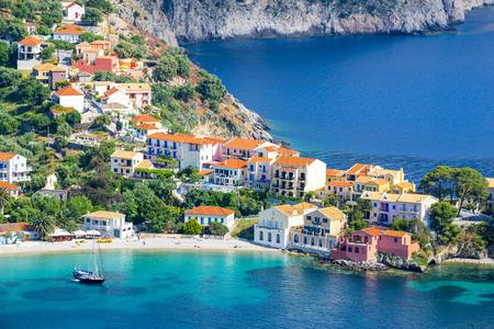 Assos village, Kefalonia island, Greece 스톡 콘텐츠