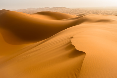 desert scenes: Sand dunes in the Sahara Desert, Merzouga, Morocco Stock Photo