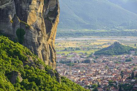 kalambaka: Town of Kalambaka from the Meteora mountains in Thessaly, Greece