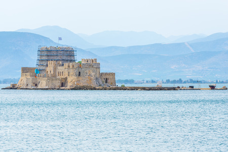 bourtzi: he castle of Bourtzi is located in the middle of the harbour of Nafplio, Greece