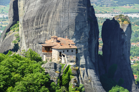 kalambaka: The Holy Monastery of Roussanou at the complex of Meteora monasteries in Greece Stock Photo