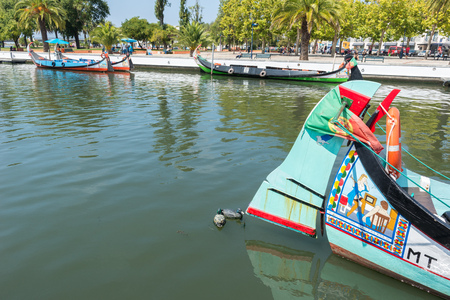 portugese: Moliceiro is a typical portugese sailing boat on August 21, 2015 in Aveiro, Portugal