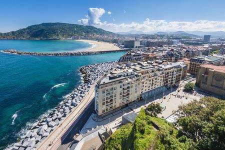 Old town of San Sebastian from Monte Urgull, Spain