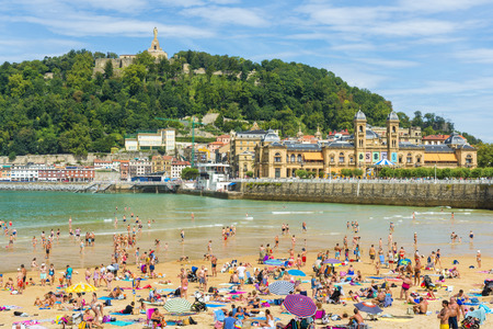La Concha beach in a sunny day, San Sebastian, Spain Editorial