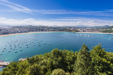 the basque country: Bay of San Sebastian from Monte Urgull, Basque Country, Spain Stock Photo