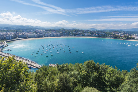 beaches of spain: Bay of San Sebastian from Monte Urgull, Basque Country, Spain Stock Photo