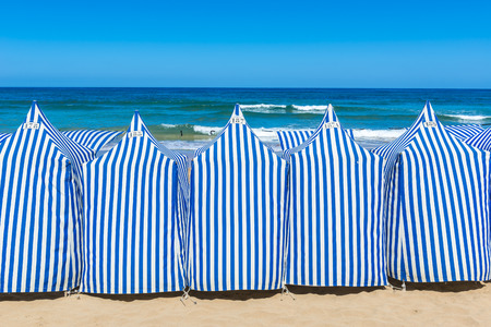 the basque country: Beach tents In Zarautz, Basque Country, Spain