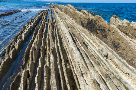 the basque country: Flysch in Zumaia, Basque Country, Spain