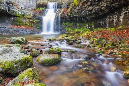 ra: Waterfall of Puente Ra, Sierra Onion Natural Park, La Rioja, Spain Stock Photo