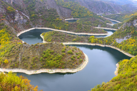 natural landscape: Meander of the river Uvac, Serbia Stock Photo