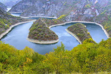 Meander of the river Uvac, Serbia Imagens