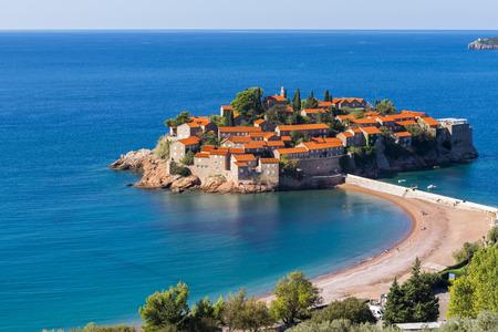 isthmus: Sveti Stefan resort island in Montenegro