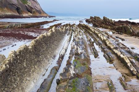 sediments: Rocky coast of Zumaia, Basque Country, Spain Stock Photo