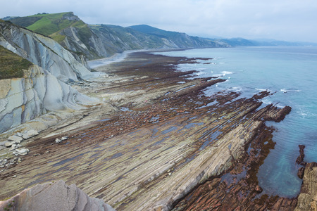 sediments: Rocky coast of Zumaia, Basque Country, Spain Stock Photo