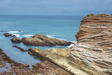 the basque country: Rocky coast of Zumaia, Basque Country, Spain Stock Photo