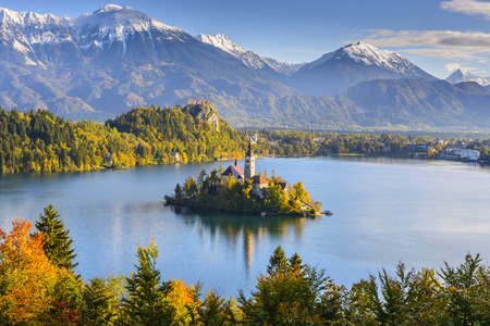 lake: Panoramic view of Lake Bled, Slovenia Stock Photo