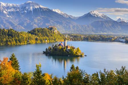 jezior: Panoramiczny widok z jeziora Bled, Słowenia Zdjęcie Seryjne