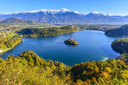 on lake: Panoramic view of Lake Bled, Slovenia Stock Photo